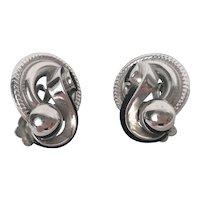 VIntage Signed Coro Silver Tone Earrings Clip Back