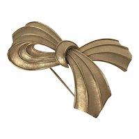 Vintage Signed Trifari Gold Tone Bow Pin Pendant