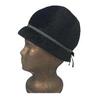 Vintage 1940's Black Cloche Style Wool Hat By Marie Aimee Paris
