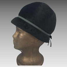 Vintage 1940's Black Cloche Style Wool Hat By Marie Aimee Paris