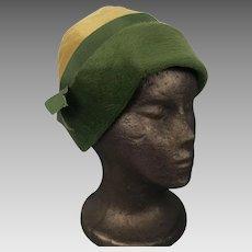 Vintage Designer Wool Felt Cloche Hat Evelyn Varon Exclusive Union Label