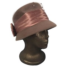 Vintage Henry Pollak New York Soleil Soie Wool Felt Hat With Bow & Netting
