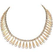 Vintage 1950's Brushed Gold Tone With Rhinestone Necklace
