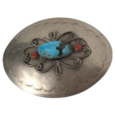 Vintage Native American Silver Belt Buckle With Turquoise & Coral