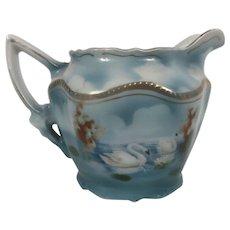 Circa 1910 Hand Painted Swans Porcelain Creamer Johann Seltman Vallestrauss