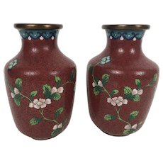 Pair Of Vintage Chinese Cloisonne Vases