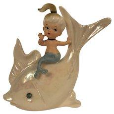 Vintage Norcrest Porcelain Mermaid & Dolphin With Rhinestone Eye