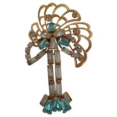 1940's Gold Filled Phyllis Diller Rhinestone Pin Pendant