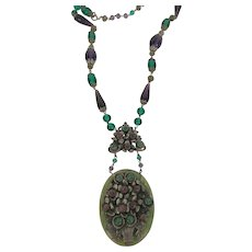 Art Deco Purple & Green Glass Necklace