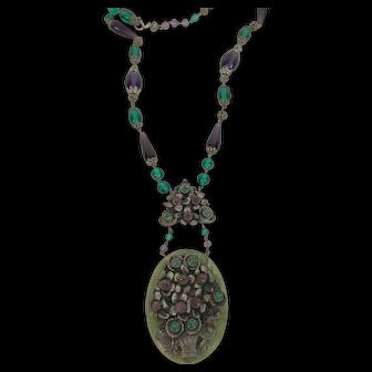 Art Deco Purple & Green Glass Necklace