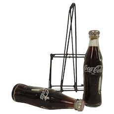 Vintage Miniature Coca Cola Bottles In Wire Carrier