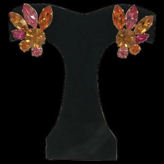 Vintage Austrian Rhinestone Earrings Pink Tangerine & Citrine