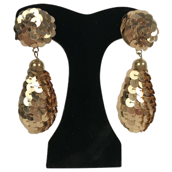 Vintage Gold Tone Sequin Drop Earrings Clip Back