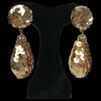 Vintage Gold Tone Sequin Drop Earrings Clip Back