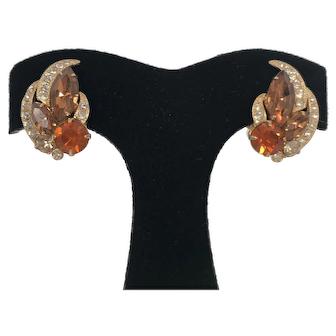 Vintage Signed Eisenberg Amber Rhinestone Earrings