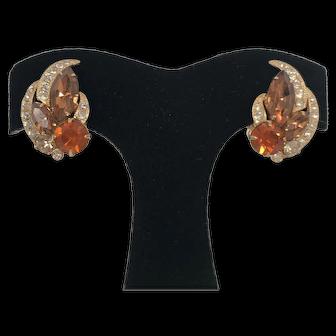 Vintage Signed Eisenberg Amber Rhinestone Earrings