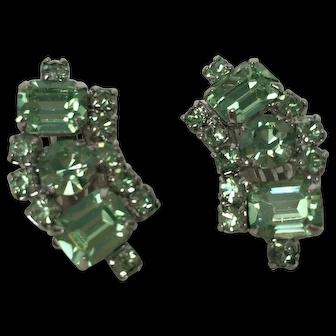 Vintage Unsigned Retro Green Rhinestone Earrings