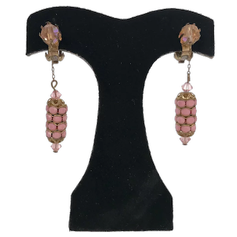 Vintage 1930's Dangle Earrings Rhinestone and Pink Glass