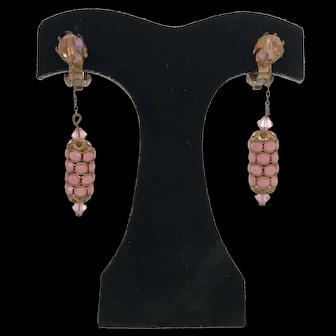 Vintage 1930's Dangle Earrings Rhinestone and Pink Glass