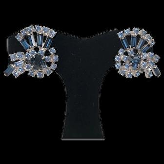 Vintage 1960's Unsigned Beautiful Blue Rhinestone Earrings