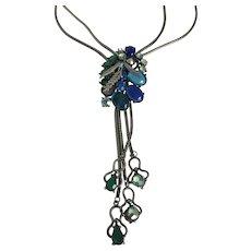 Selro Signed Rhinestone Lariat Bolo Slide Necklace Stunning!