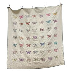 Vintage 1920s Hand Made Pa Butterflies Quilt