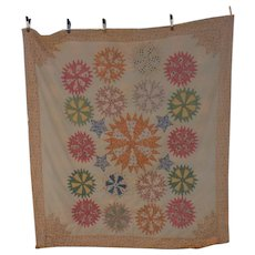 Antique Pin Wheel Hand made Quilt 1890s