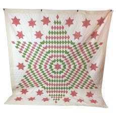 19th Century Star Quilt made in Pennsylvania Hand Made.