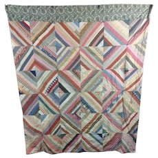 1890s Antique Strip Pieced Pennsylvania Quilt