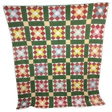 Antique 1910 Twelve Patch Quilt