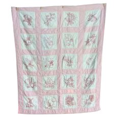 Red Work Baby's Quilt 1900s