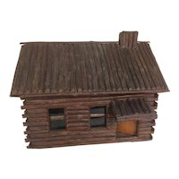 Folk Art Doll / Log Cabin