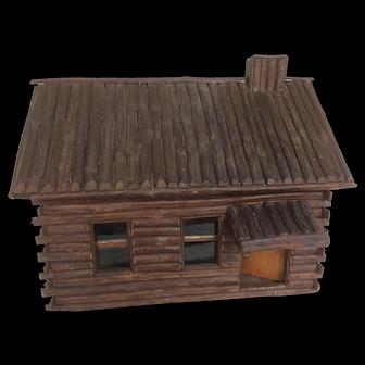 Folk Art Doll / Log Cabin
