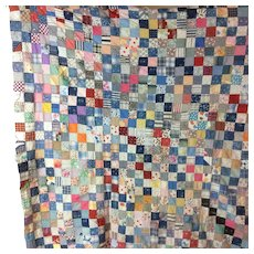 Vintage Checkerboard 1910 Quilt Top