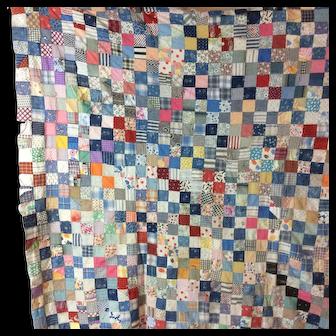 Vintage Checkerboard 1910 Quilt Top
