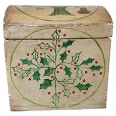 Antique Primitive Hand Painted Small Box