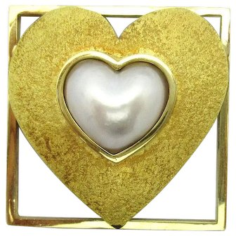 Pat Flynn Heart Pin with Pearl 18k Gold