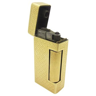Vintage Dunhill Rollalite Lighter with 14k Yellow Gold Textured Case