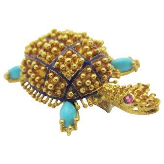 Vintage Italian Turtle Pin Turquoise Ruby Enamel