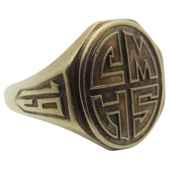 Antique 1918 Date Signet Ring CMHS Class Ring