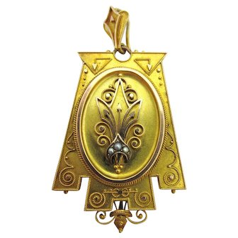 Mid 1800s Etruscan Revival Compartment Pendant