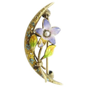 Antique Krementz Art Nouveau Honeymoon Brooch