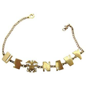 WWII Era US Navy Letter Sweetheart Bracelet 10k