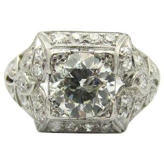 Art Deco 1.25ct Old European Cut Diamond Platinum Ring