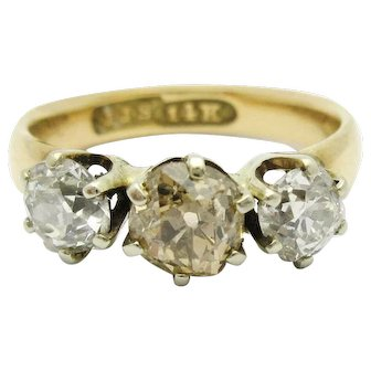 3 Stone Old Mine Cut Champagne Diamond Ring JJ Sommer Co 14k