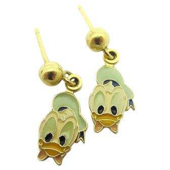 Disney Donald Duck Enamel Stud Drop Earrings