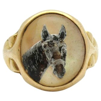 Antique Essex Crystal Horse Ring 18k Yellow Gold