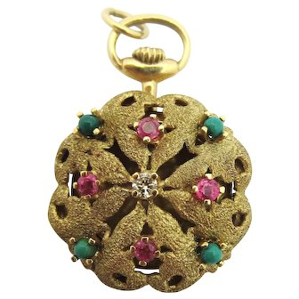 1960s Diamond, Turquoise, and Ruby Pocketwatch Conversion Locket