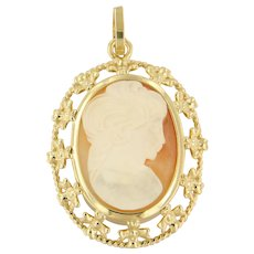 Victorian Lady's Cameo Pendant with filigree details