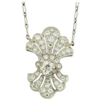 Upcycled | Diamond Belle Epoque Pendant with vintage Necklace